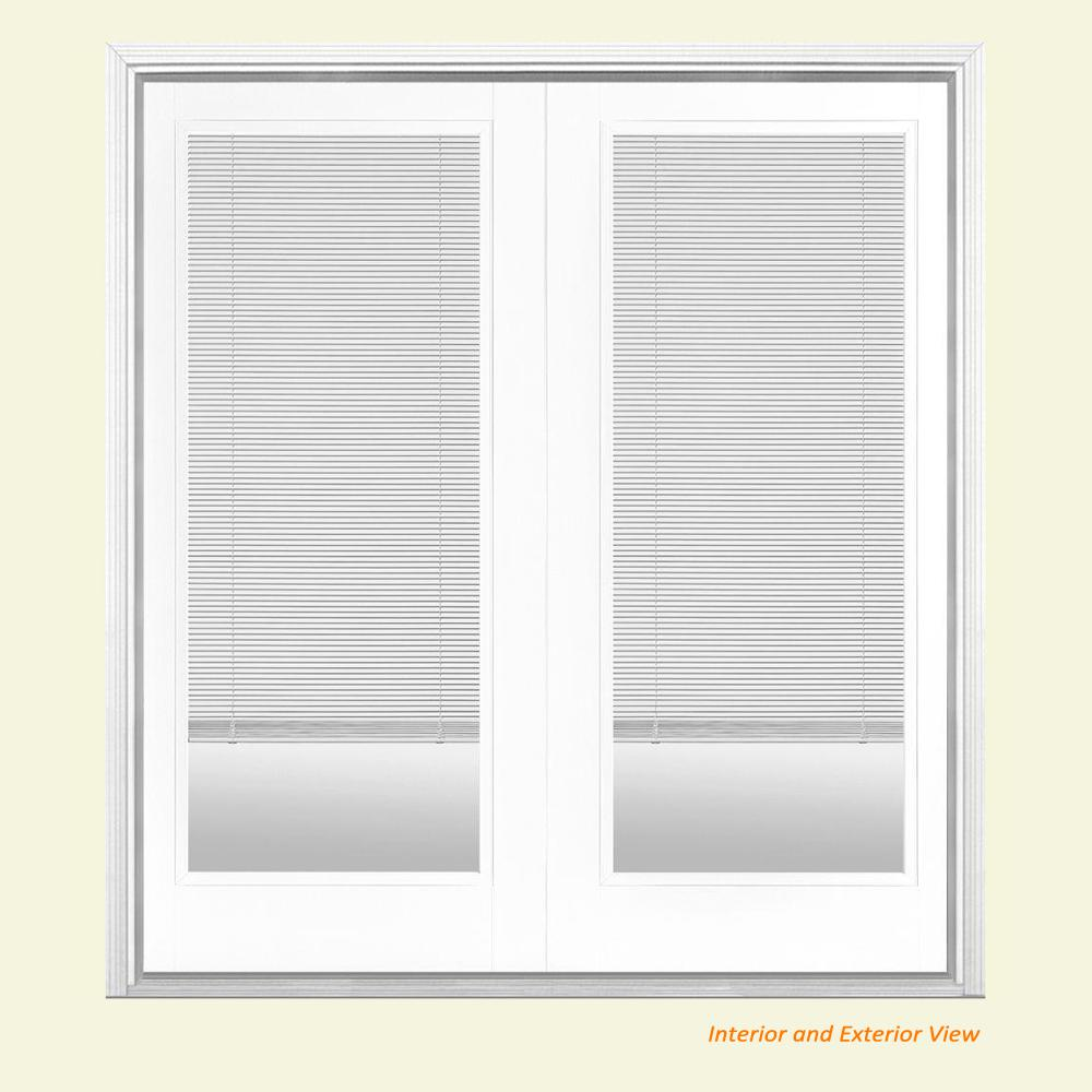 Masonite 72 in. x 80 in. Ultra White Fiberglass Prehung Right-Hand Inswing Mini Blind Patio Door with Brickmold