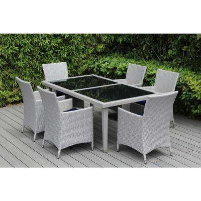 Gray 7-Piece Wicker Patio Dining Set with Sunbrella Navy Cushions