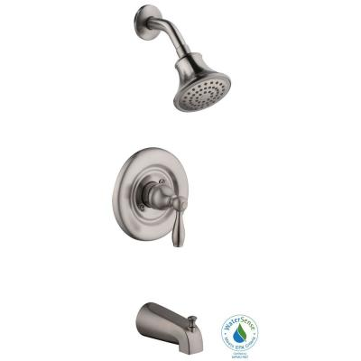 Mandouri Single-Handle 1-Spray Color Changing LED Tub and Shower Faucet in Brushed Nickel