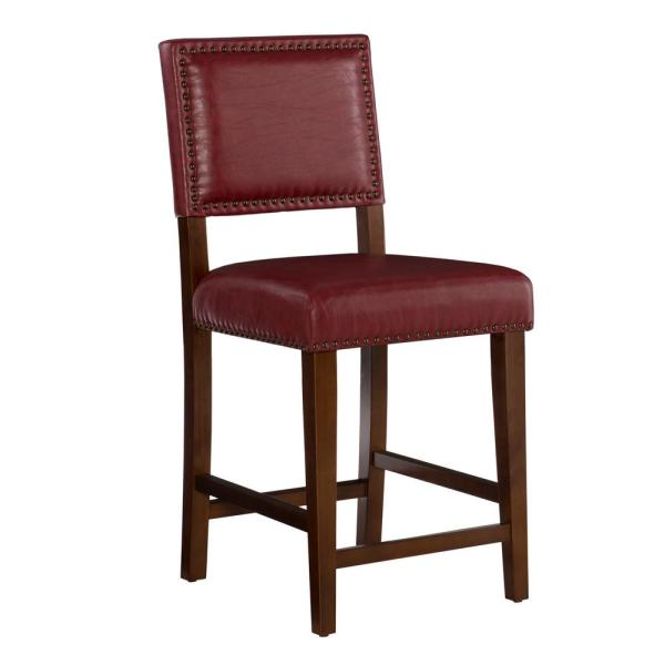 Brook 24 in. Red Cushioned Bar Stool