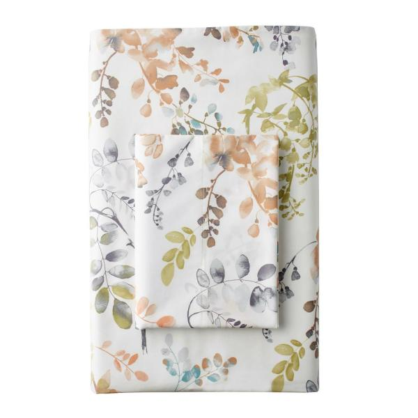 The Company Store Hillside Floral 300-Thread Count Sateen Twin Fitted Sheet