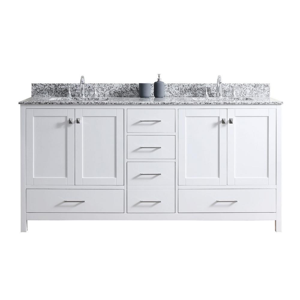 Caroline Madison 72 in. W Bath Vanity in White with Granite Vanity Top in Arctic White Granite with Square Basin