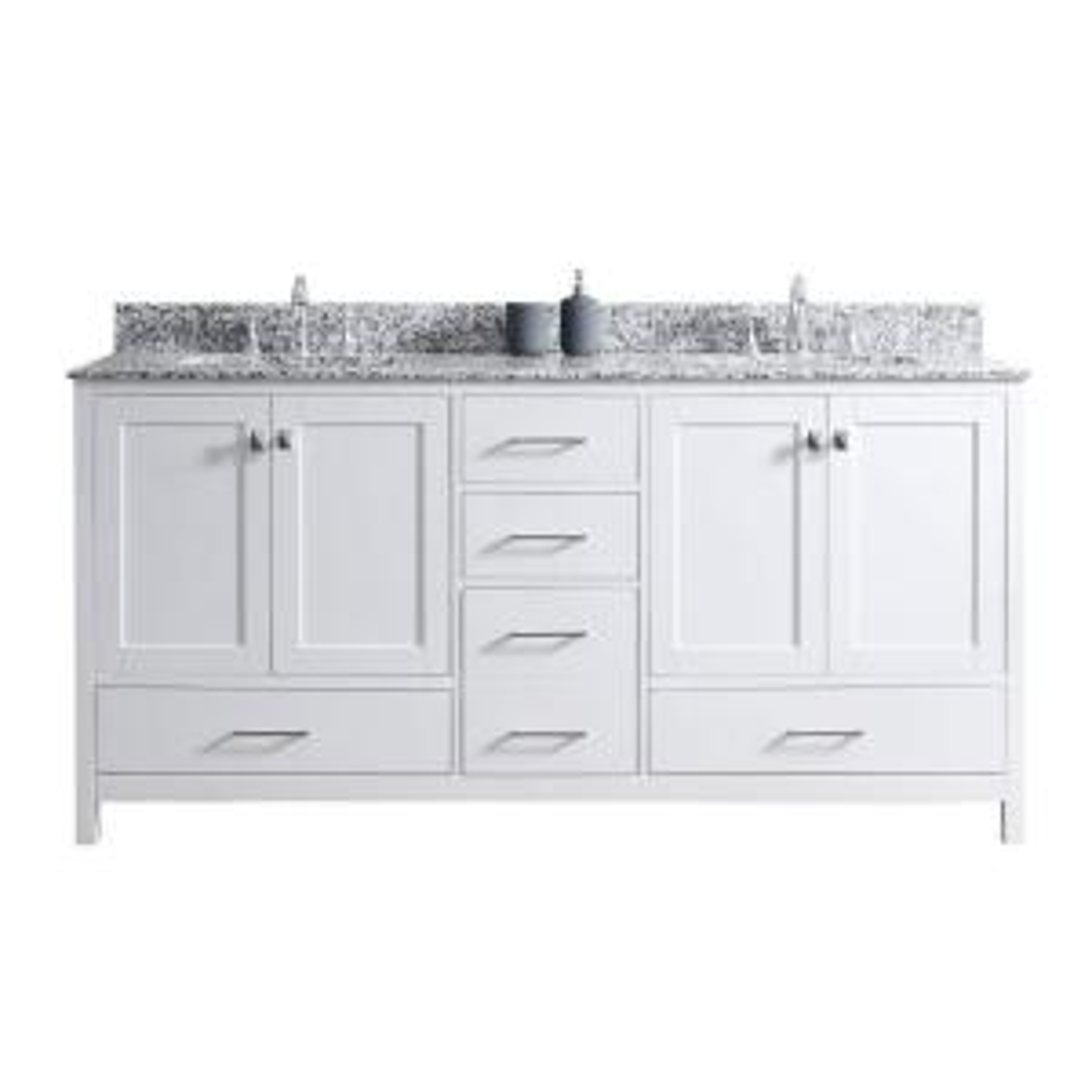 Virtu USA Caroline Madison 72 inch W x 22 inch D Vanity in White with Granite Vanity Top in Arctic White with White... by Virtu USA