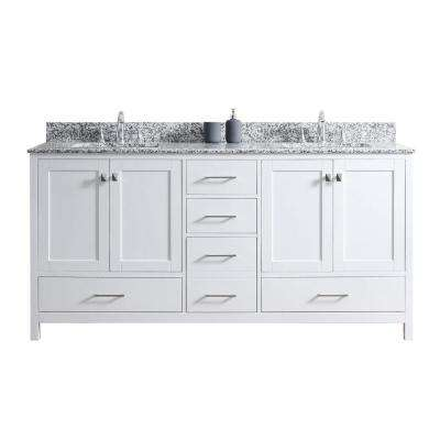 Caroline Madison 72 in. W x 22 in. D Vanity in White with Granite Vanity Top in Arctic White with White Square Basin
