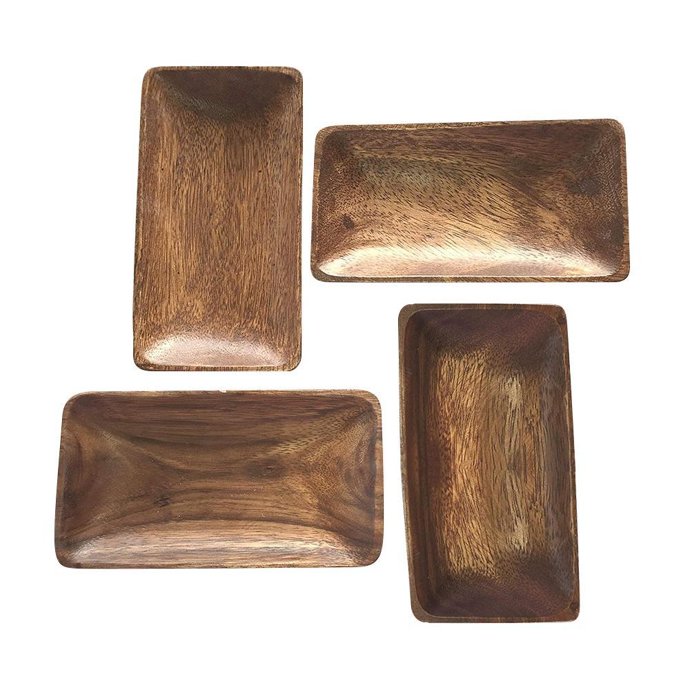 4-Piece Acacia Wood Rectangle Bowl Set