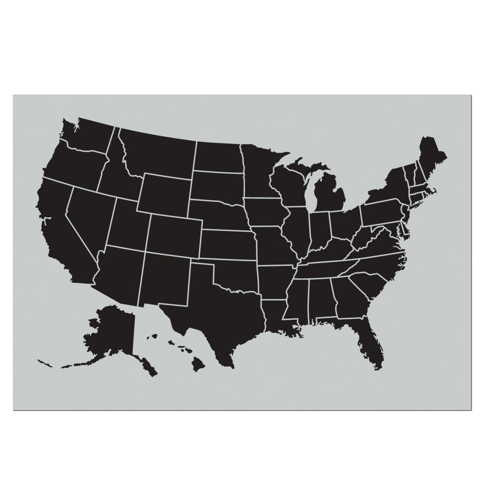 Stencil1 Large USA Wall Map Stencil-S1_USMAP_30 - The Home Depot
