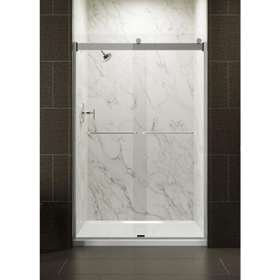 Levity 48 in. x 74 in. Semi-Frameless Sliding Shower Door in Silver with Crystal Clear Glass and Handle