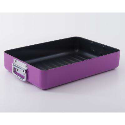 Eclipse 5.9 Qt. Aluminum Purple Roaster with Non-Stick Coating