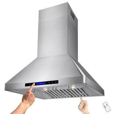 30 in. Kitchen Island Mount Range Hood in Stainless Steel with Remote and Touch Control Panel