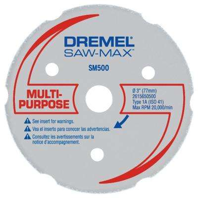 Saw-Max 3 in. Carbide Multi-Purpose Wheel for Wood, Plywood, Composites, Laminate Flooring, Drywall, PVC, and Plastics