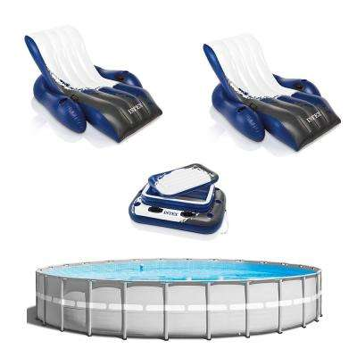 26 ft. L x 26 ft. W x 52 in. H Round Above Ground Swimming Pool with 2 Inflatable Loungers and Floating Cooler