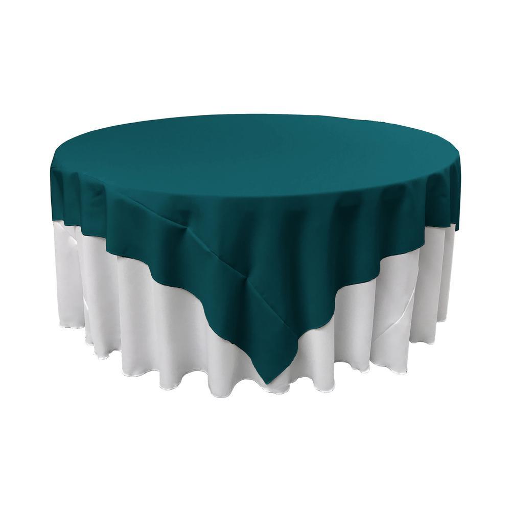 90 in. x 90 in. Dark Teal Polyester Poplin Square Tablecloth