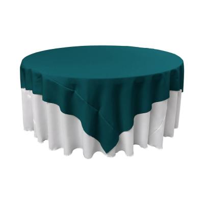 90 in. x 90 in. Dark Teal Polyester Poplin Square Tablecloth
