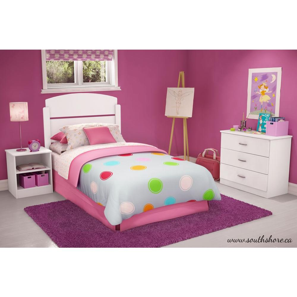 South Shore Libra 3-Piece Pure White Twin Kids Bedroom Set