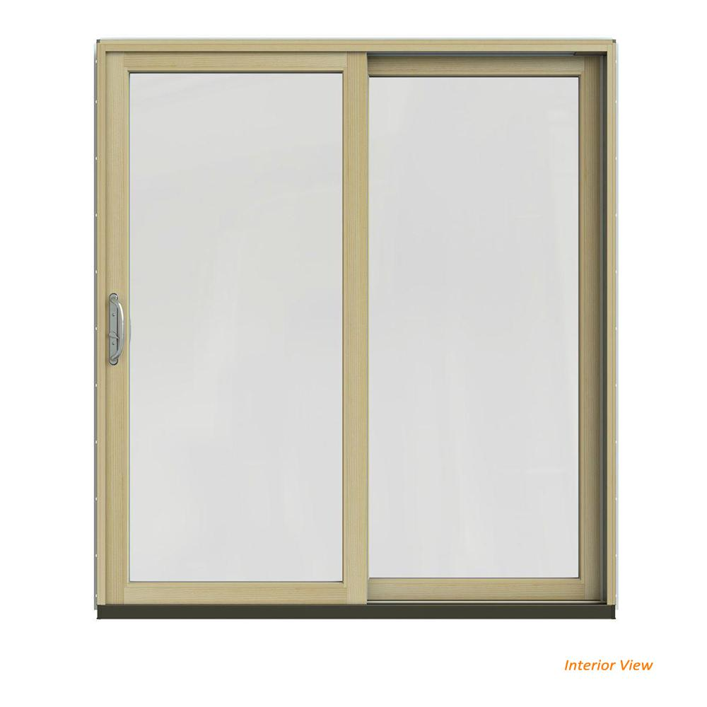 Jeld Wen 72 In X 80 In W 2500 Contemporary Bronze Clad Wood Right Hand Full Lite Sliding Patio Door W Unfinished Interior Jw2201 01219 The Home Depot
