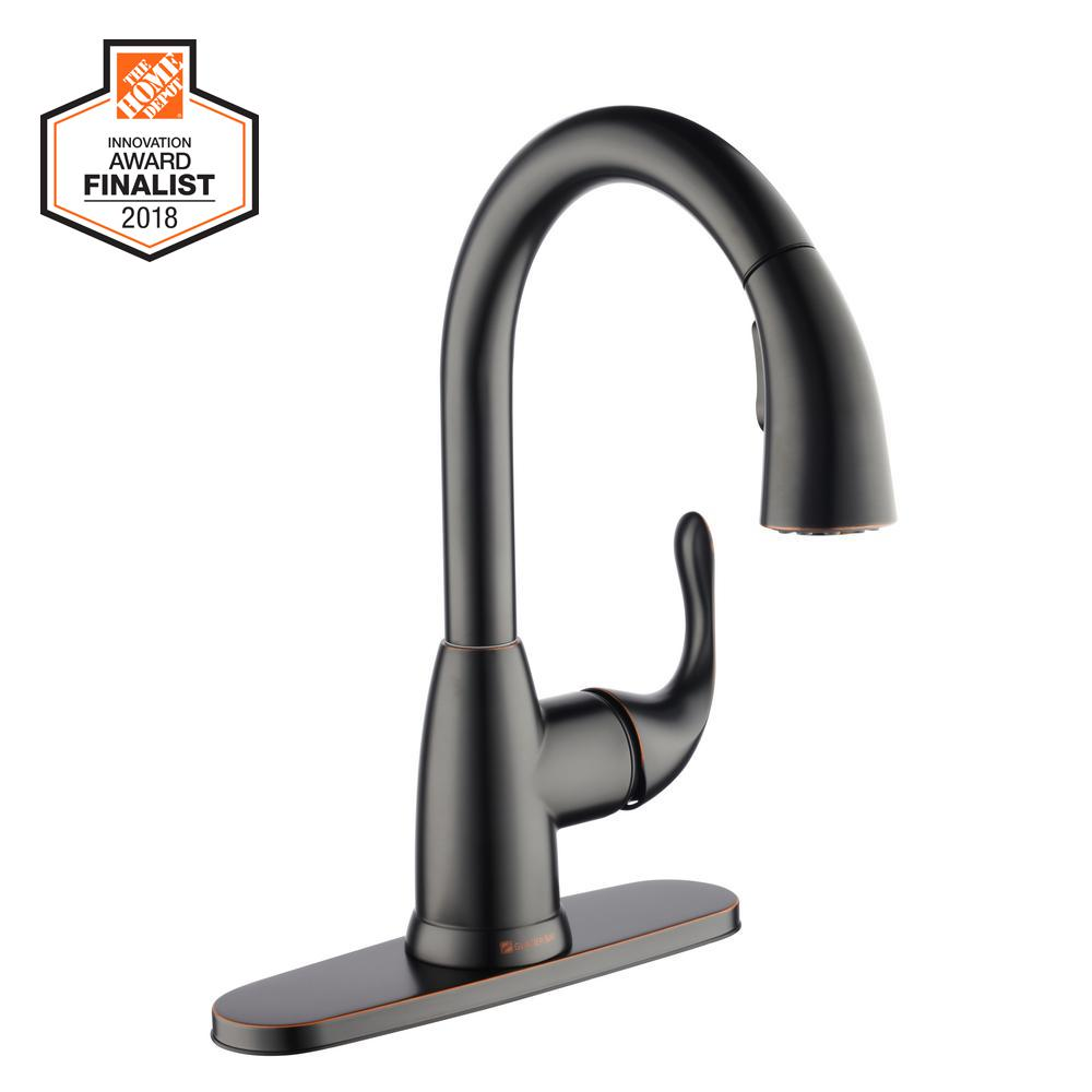 Glacier Bay Dylan Single-Handle Pull-Down Sprayer Kitchen Faucet in Bronze