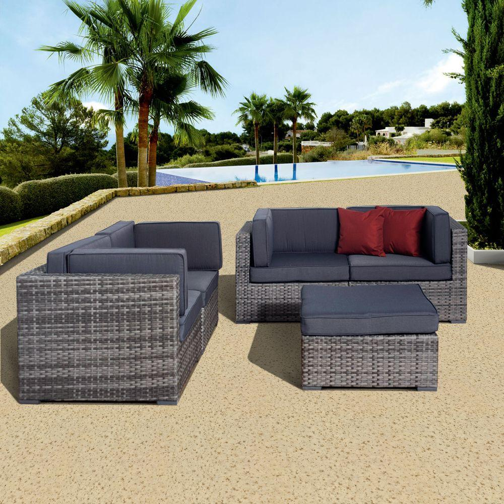 Nice Grey 5 Piece All Weather Wicker Patio Seating Set With Gray Cushions
