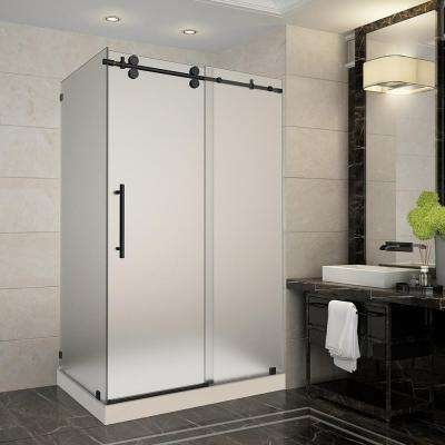 Langham 48 in. x 35 in. x 77.5 in. Frameless Sliding Shower Enclosure and Frosted in Oil Rubbed Bronze with Left Base