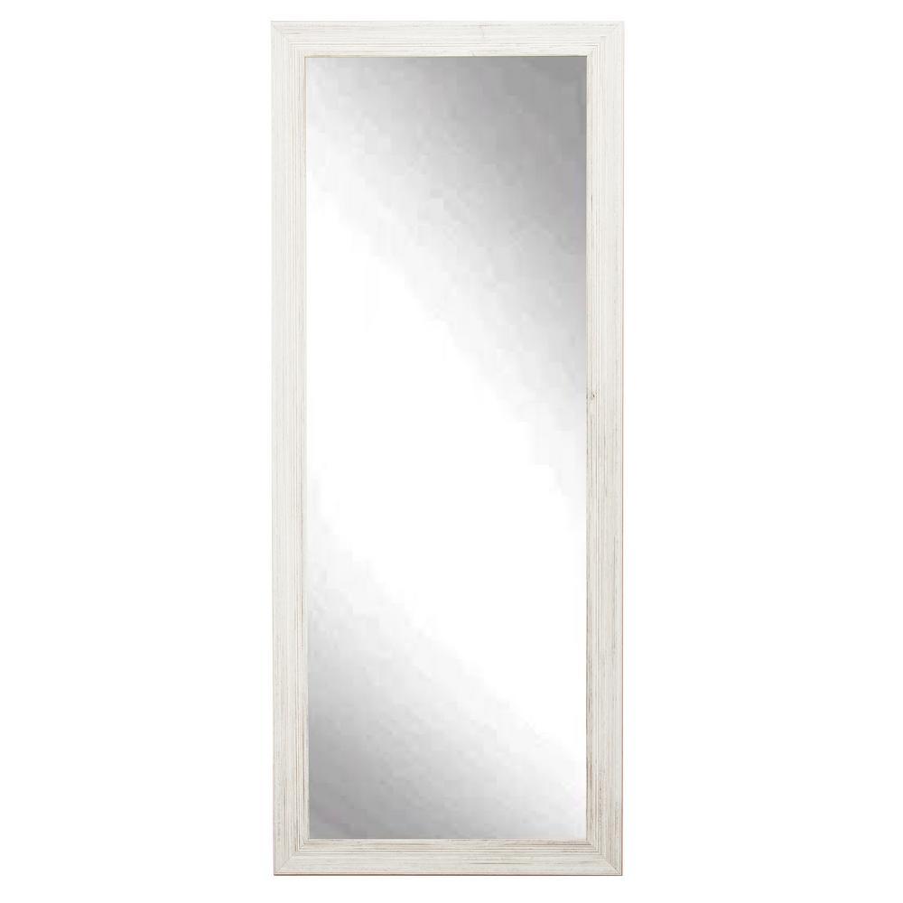 Medium Distressed White Composite Hooks Farmhouse Rustic Mirror (32 in. H X 65 in. W)