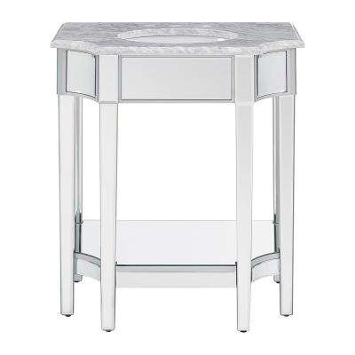 Presonna 32 in. W x 22 in. D Vanity in Silver Mirror with Marble Vanity Top in Gray with White Basin