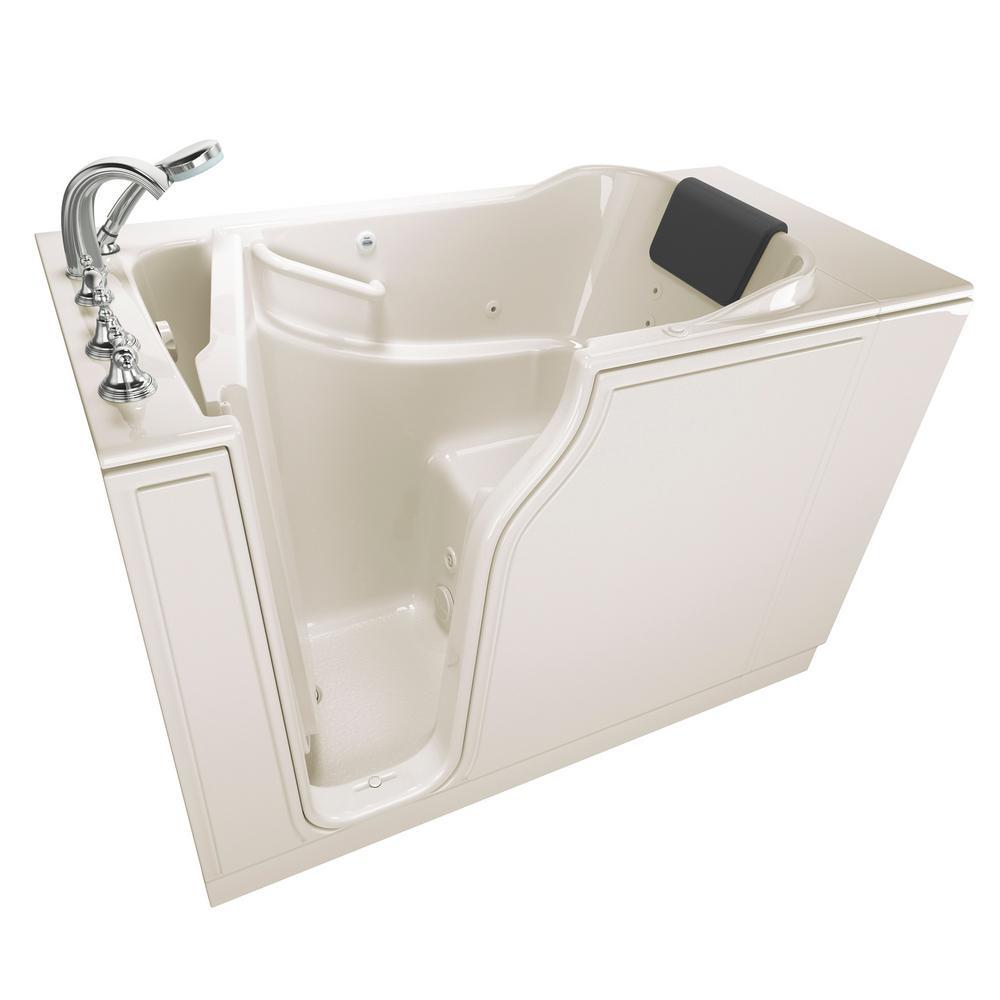 Gelcoat Premium Series 52 in. x 30 in. Left Hand Walk-In Whirlpool Bathtub in Linen