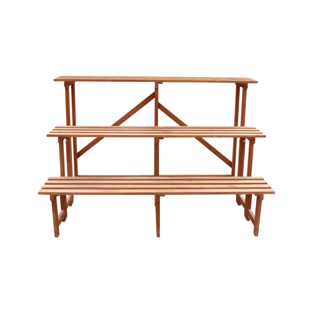 Large 3 Tier 48 In W X 24 D 32 H Brown Step Wooden Plant Stand