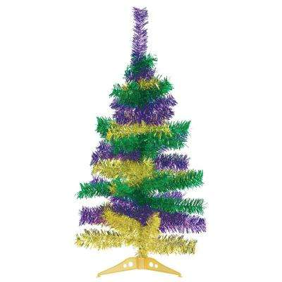 18 in. Mardi Gras Wire Tinsel Tree (2-Pack)