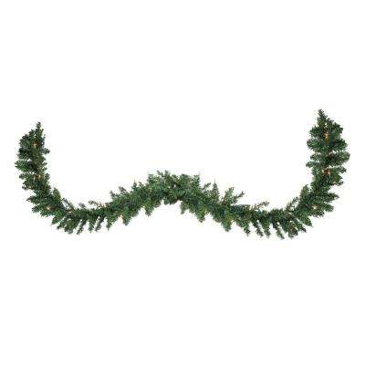 108 in. Pre-Lit Buffalo Fir Artificial Christmas Garland with Clear Lights