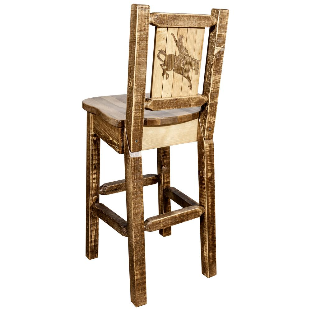 Homestead Collection 30 in. Early American Laser Engraved Bronc Motif Bar Stool with Back