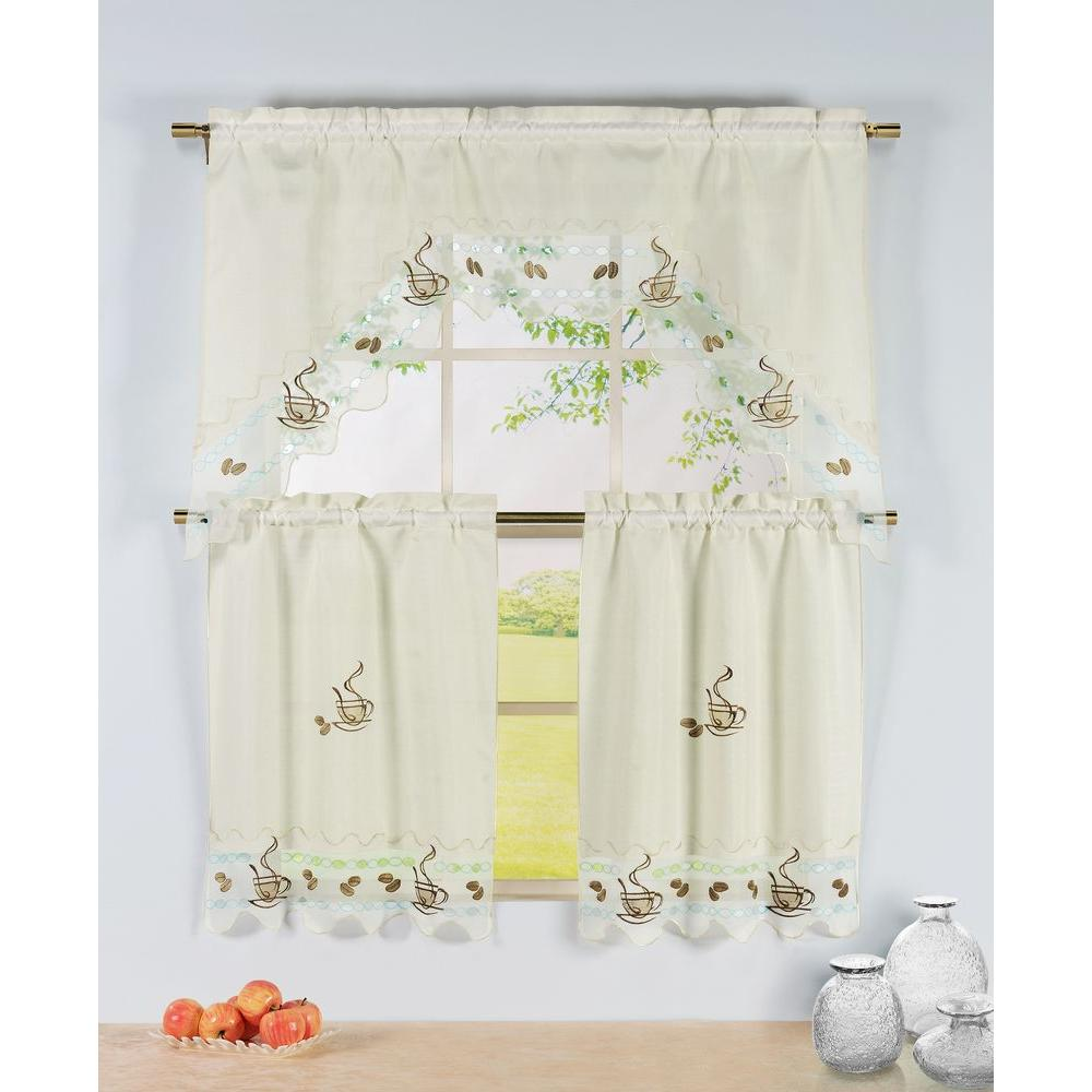 Window Elements Semi Opaque Coffee Talk Embroidered 3 Piece Kitchen Curtain  Tier And Valance