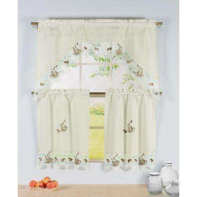 Semi-Opaque Coffee Talk Embroidered 3-Piece Kitchen Curtain Tier and Valance Set