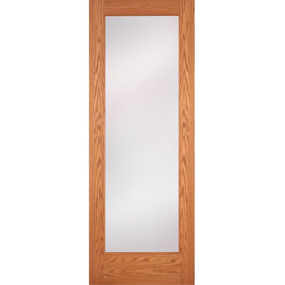 Feather River Doors 28 in. x 80 in. 1 Lite Unfinished Oak Privacy Woodgrain Interior Door Slab