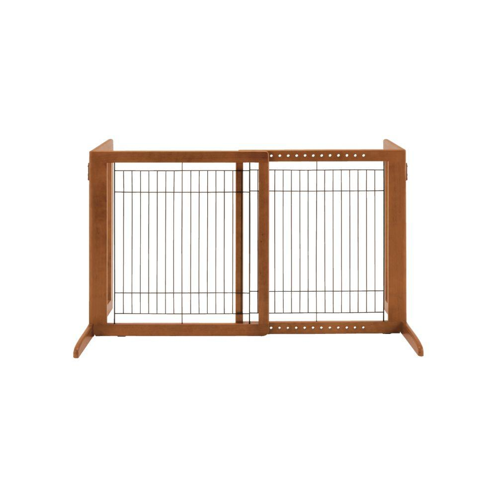 Richell Hs Wood Freestanding Pet Gate In Brown 94146 The Home Depot