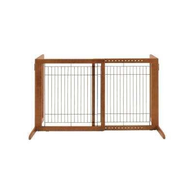 HS Wood Freestanding Pet Gate in Brown