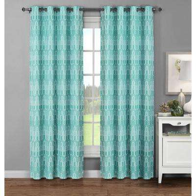 Semi-Opaque Juneau Printed Cotton Extra Wide 96 in. L Grommet Curtain Panel Pair, Aqua (Set of 2)