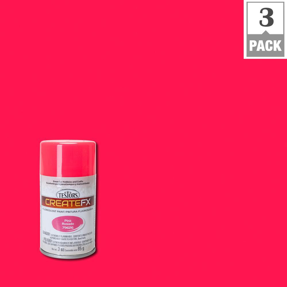 Testors Createfx 3 Oz Fluorescent Pink Spray Paint 3 Pack 79626