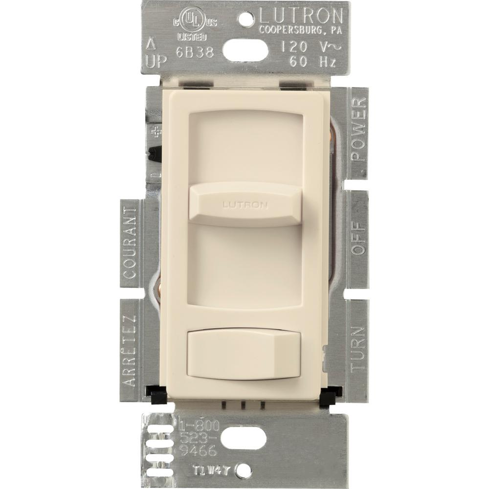 Lutron Skylark Contour 300-Watt Single-Pole/3-Way Preset Electronic Low-Voltage Dimmer, Light Almond