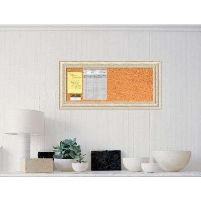 Country White Wash Rustic Cream Wood 16.5 in. H x 34.5 in. W Framed Cork Board