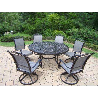 Mississippi Cascade Black 7-Piece Aluminum Outdoor Dining Set