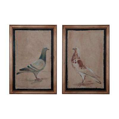 "44 in. x 30 in. ""Rock Doves"" Hand Painted Framed Wall Art (Set of 2)"