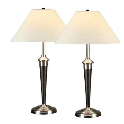 Classic Cordinates Espresso and Brushed Steel Table Lamp (2-Piece)
