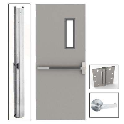 36 in. x 80 in. Gray Flush Exit with 5x20 VL Left-Hand Fireproof Steel Commercial Door with Knockdown Frame