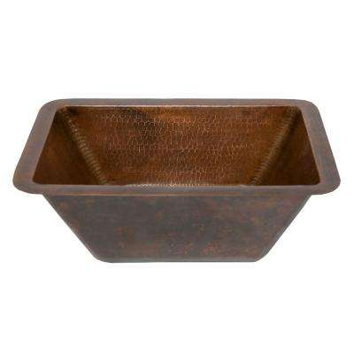Under-Counter Rectangle Hammered Copper Bathroom Sink in Oil Rubbed Bronze