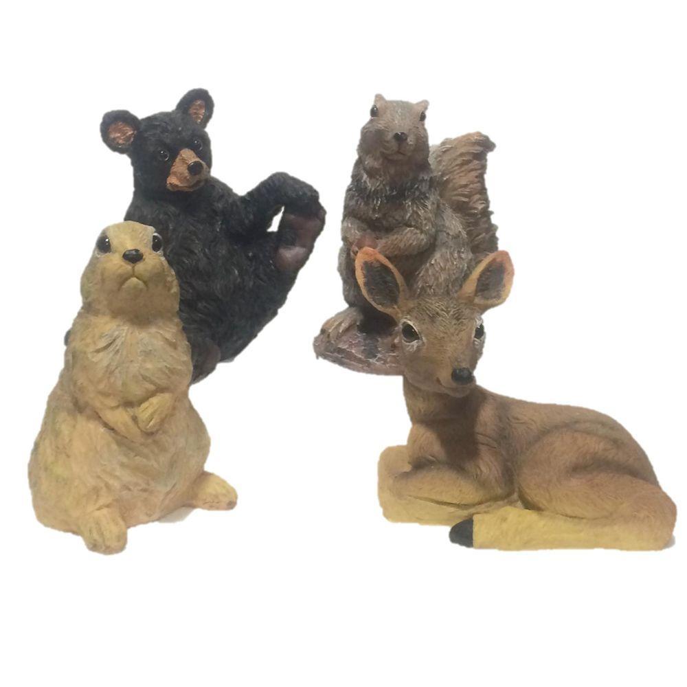 8 in. Wild Animal Critter Assortment (Bear, Deer, Squirrel, Rabbit) Statues (4-Piece)