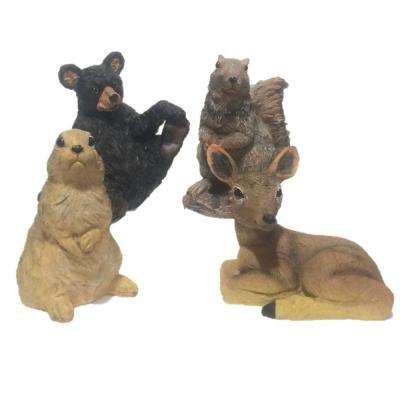 8 in. Wild Animal Critter Assortment (Bear, Deer, Squirrel, Rabbit) Statues (4-Piece)