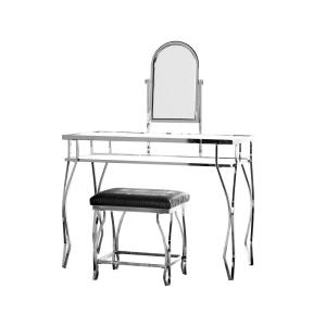 Admirable Furniture Of America Helene 2 Piece Chrome Vanity And Stool Bralicious Painted Fabric Chair Ideas Braliciousco