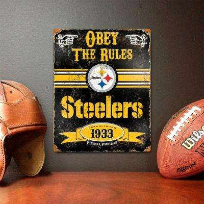 14.5 in. H x 11.5 in. D Heavy Duty Steel Pittsburgh Steelers Embossed Metal Sign Wall Art