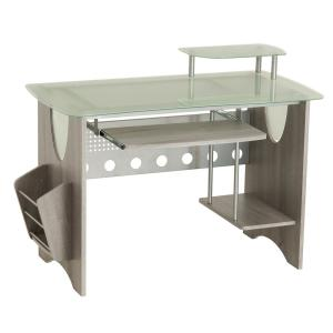 Techni Mobili Gray Frosted Glass Top Computer Desk with Storage by Techni Mobili