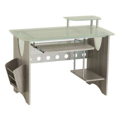 Gray Frosted Glass Top Computer Desk with Storage