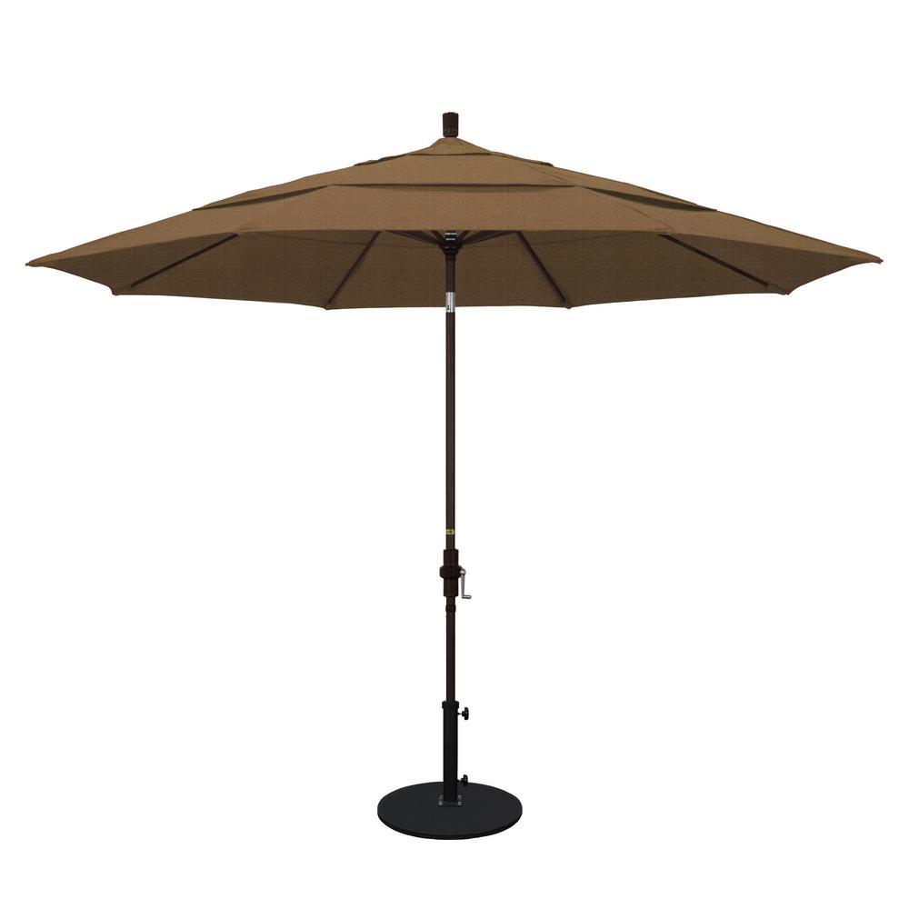 11 ft. Aluminum Collar Tilt Double Vented Patio Umbrella in Sesame Olefin